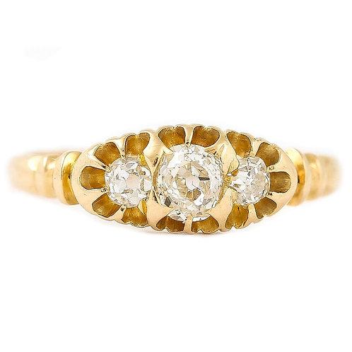 Victorian Three Stone Diamond 18 Karat Gypsy Ring, Circa 1900