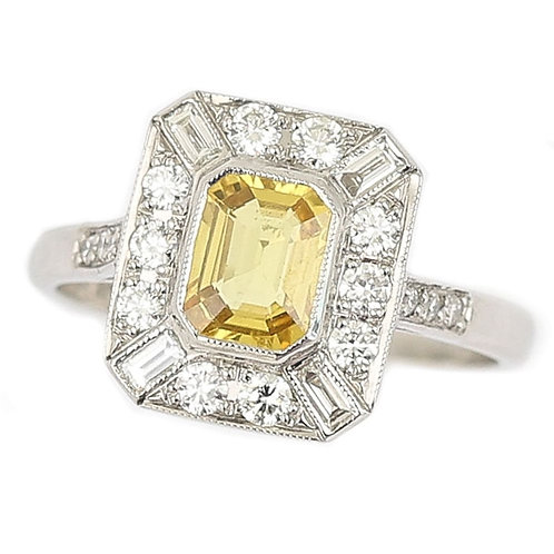 Mid-Century Platinum 1.21ct Cut Yellow Sapphire and Diamond Cluster Ring