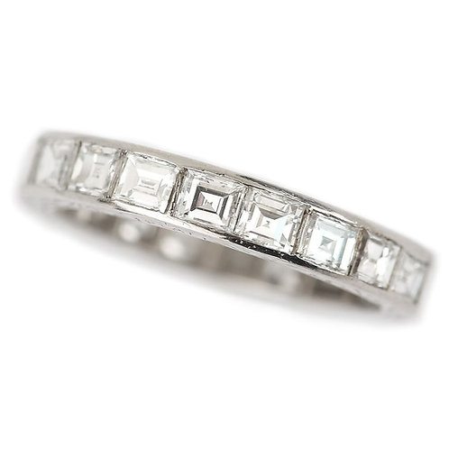 Platinum Art Deco 2.30ct Asscher & Emerald Cut Diamond Full Eternity Ring c.1930
