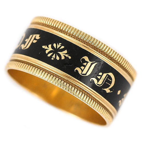 Georgian In Memory Of 18k Gold Black Enamel Band Ring, Circa 1823