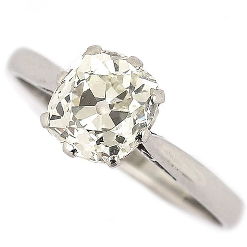 Platinum 1.70ct Solitaire Old Mine Cut Diamond Engagement Ring, Circa 1930