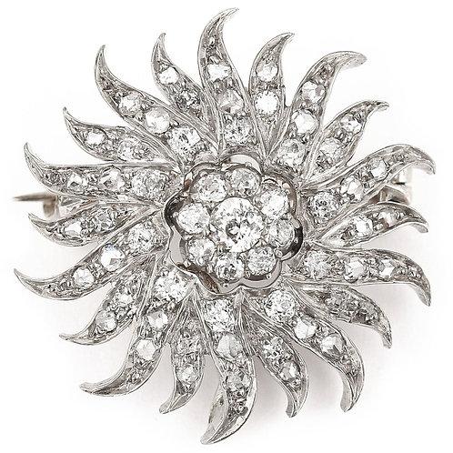 Victorian 1.40 Carat Diamond Sunburst Star Brooch Pendant, Circa 1890