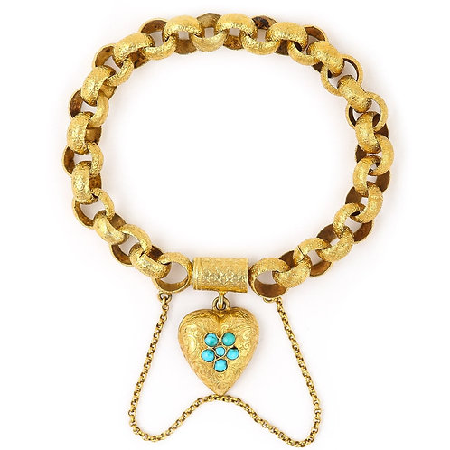 Antique Georgian 20 Karat Gold Bracelet with Turquoise Heart Locket, circa 1820