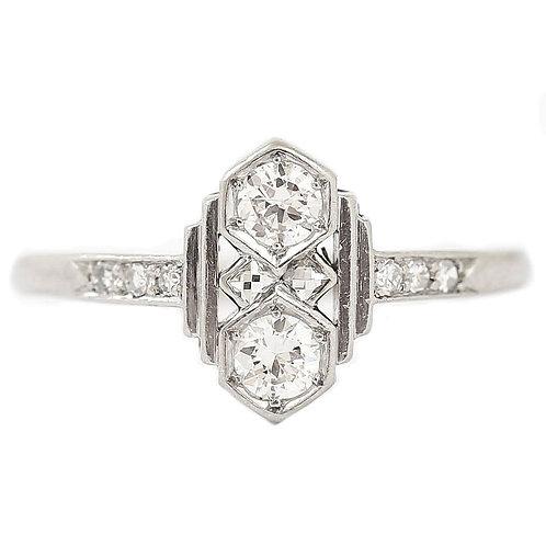 Art Deco Platinum Four Stone Diamond Ring, Circa 1935-1938