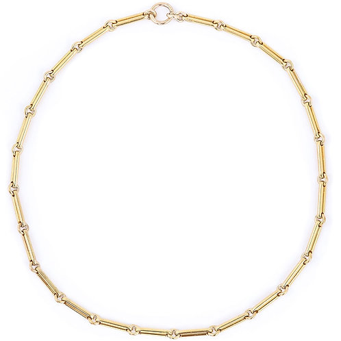 "Victorian 18ct Trombone Link Albert Watch Chain Necklace, 21"", 76g"