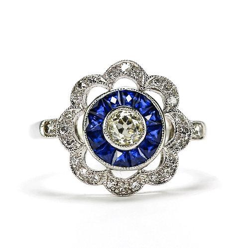 Art Deco Diamond and Blue Sapphire 18 Karat Gold Target Ring