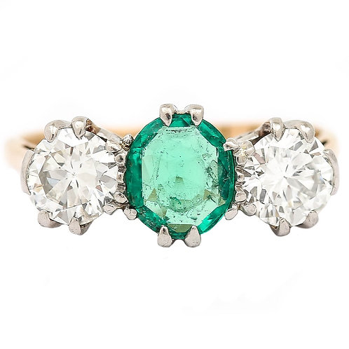1ct Emerald and Diamond 1.75ct Three Stone Ring 18k Yellow Gold & Platinum