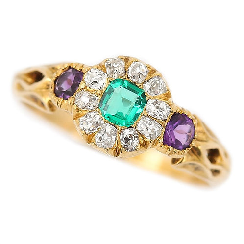 Victorian 18 Karat Emerald, Amethyst and Diamond Cluster Suffragette Ring