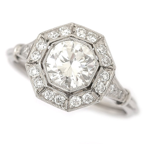 1.43ct Platinum Diamond Cluster Art Deco Style Solitaire Engagement Ring