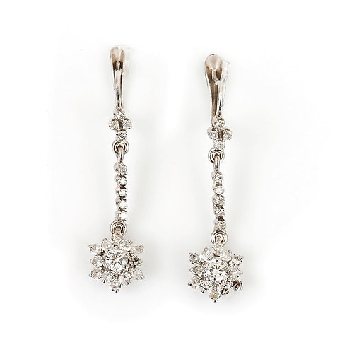 18ct White Gold Vintage Diamond Drop Daisy Cluster Earrings 0.75 Carat