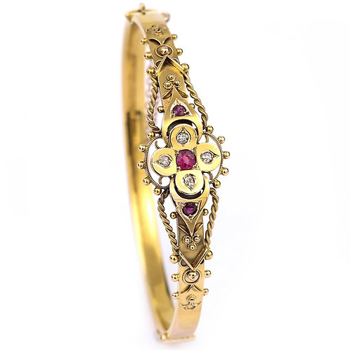 Fancy Victorian 15k 15ct Yellow Gold 'Puginesque' Ruby and Diamond Bangle