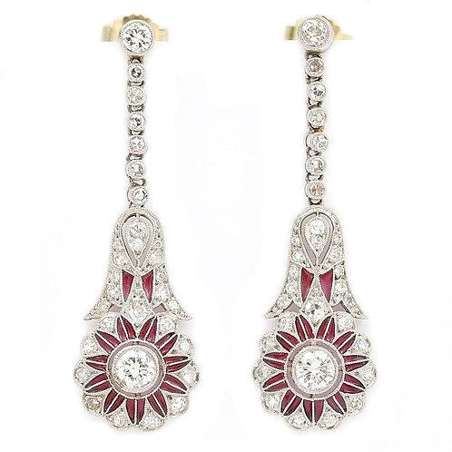 Platinum Diamond and Red Pliqué a Jour Drop Earrings