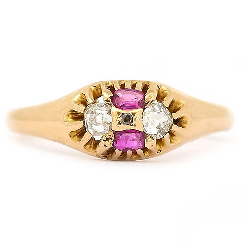 Mid Victorian 18K Yellow Gold Ruby and Diamond Four Stone Ring, Circa 1866