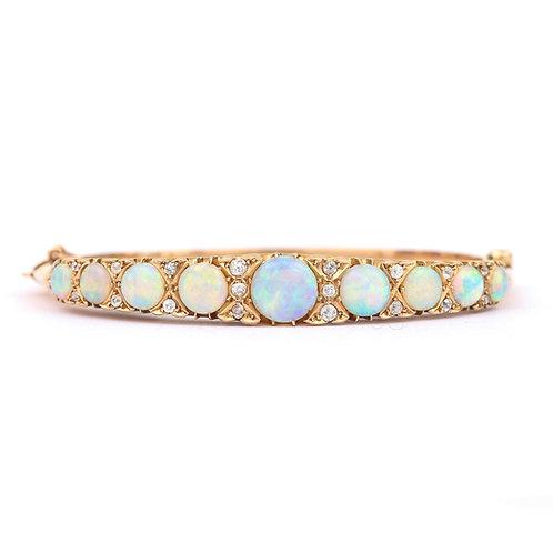 Victorian Antique Opal and Diamond Bangle Bracelet 18 Karat Yellow Gold