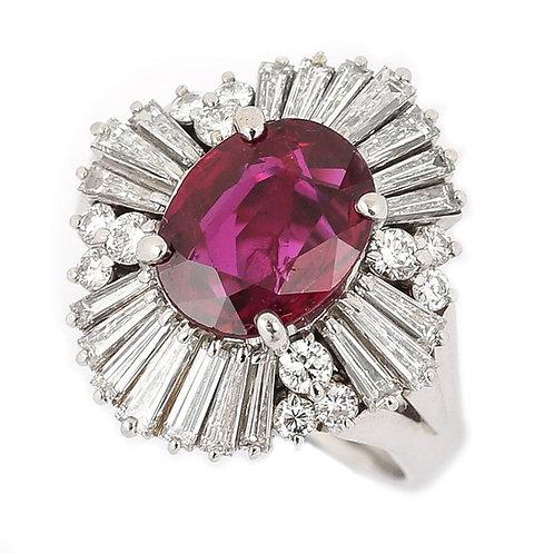 Platinum 2.18ct No-Heat Ruby and 2.00ct Diamond Ballerina Ring