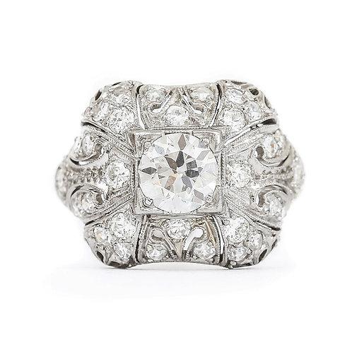 Art Deco Platinum and Diamond 1.95ct Engagement Ring Circa 1920s