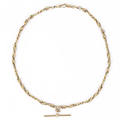 """Vintage 9k 9ct Yellow Gold Fancy Twist Link Albert Watch Chain, 18"""", 43g"""