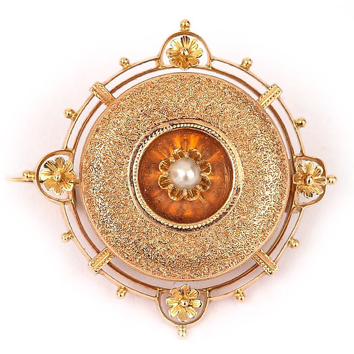 Fancy 14 Karat Rose Gold Pearl Target Brooch in Original German Box