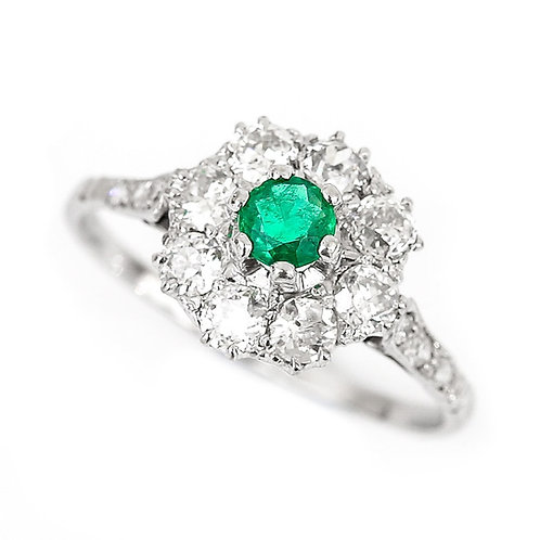 Emerald and Diamond Platinum Vintage Cluster Cocktail Ring Circa 1950
