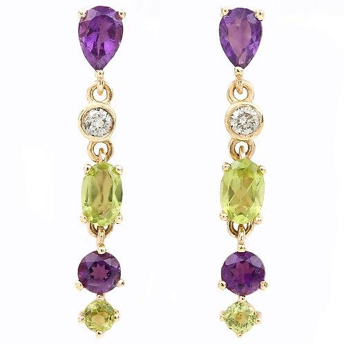 Modern Suffragette Style Peridot, Diamond and Amethyst Drop Earrings