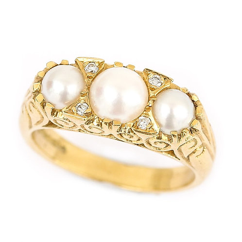 Three Stone Cultured Pearl and Diamond 18 Karat Yellow Gold Trilogy Ring