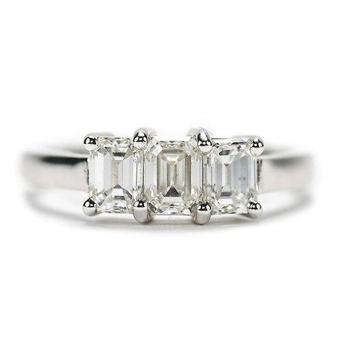 Platinum 3-Stone Emerald Cut Diamond 1.25ct Trinity Engagement Ring