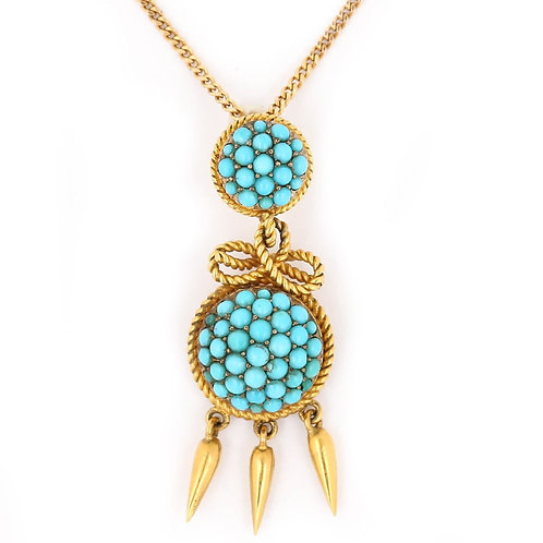 Victorian 18 Karat Yellow Gold Turquoise Boule and Rope Pendant, circa 1860