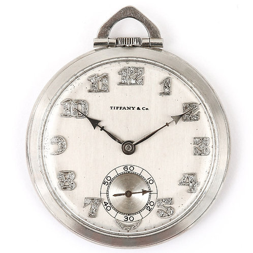 Art Deco Tiffany & Co. Platinum and Diamond Pocket Watch
