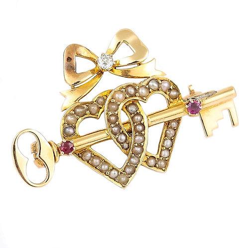 Victorian 15 Karat Gold Pearl Dual Sweet Heart, Ruby Key and Diamond Bow Brooch