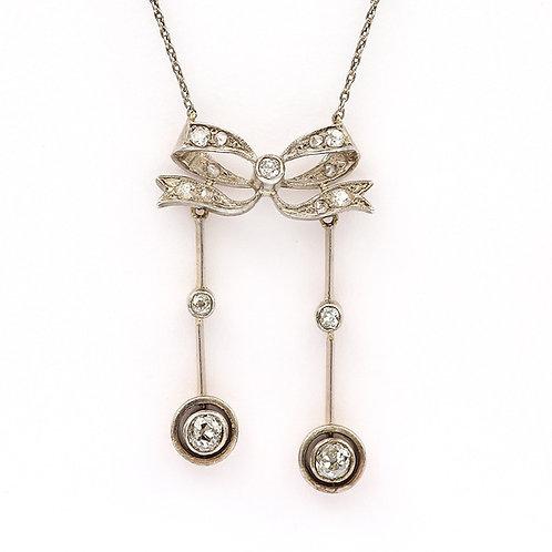 18ct Gold Diamond Set Edwardian Negligee Pendant Necklace