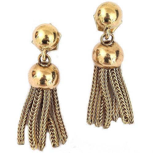 Vintage 9 Karat Yellow Gold Tassel Fringe Drop Earrings, Circa 1987