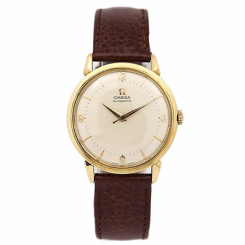 Vintage Omega 18 Karat Gold Cal.501 20j Automatic circa 1956 in Original Box