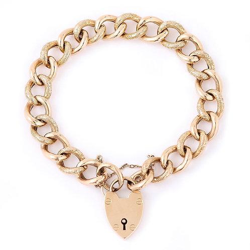 English Edwardian 9 Karat Yellow Gold Curb Bracelet with Padlock