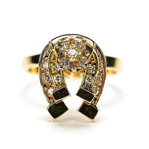 Vintage 14 Karat Yellow Gold Diamond 'Lucky' Horse Shoe Spinner Ring, circa 1990
