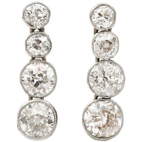 Timeless Art Deco Platinum 3.00 Carat Diamond Drop Earrings, circa 1930