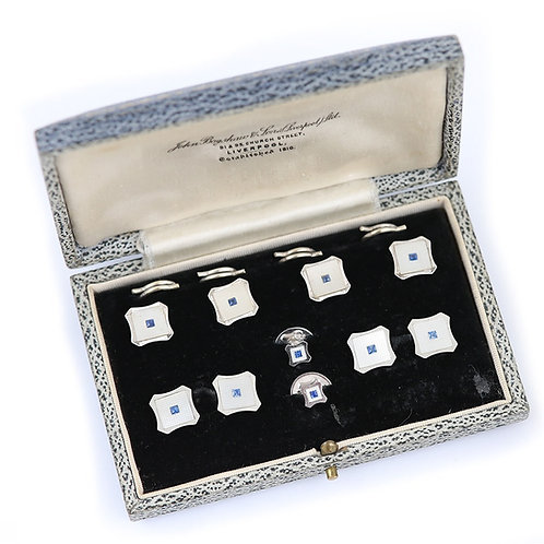 White Gold Sapphire and Mother of Pearl Men's Dress Stud Set, circa 1956