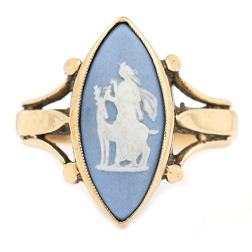 Blue Navette Jasperware Wedgewood Ring, Early 20th Century