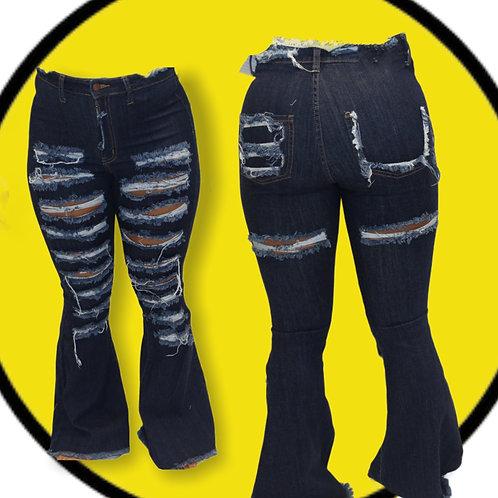 Cutting Up Dark Denim Flared Jeans