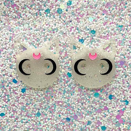 White Glitter Cat Studs