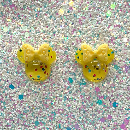 Yellow Glitter Mouse Studs