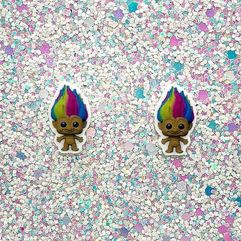 Dime-Size Studs in Rainbow Naked