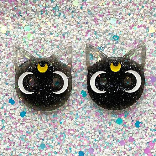 Black Glitter Cat Studs