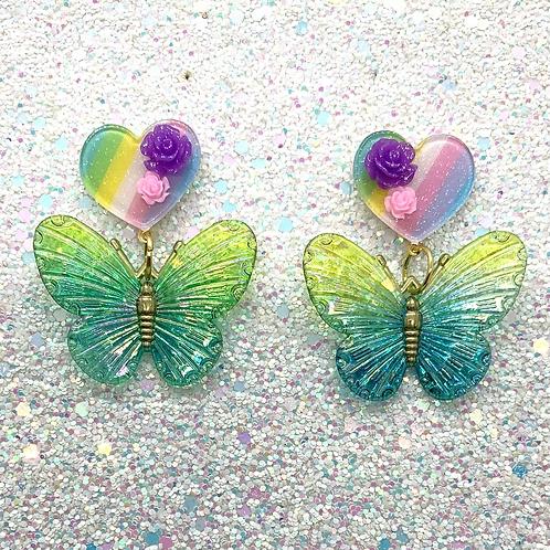 Butterfly Dangles in Teal