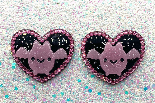 Going Batty Hearts in Pink Night Sky