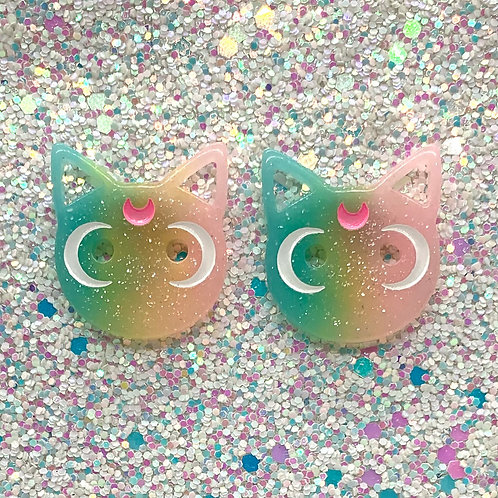 Rainbow Moon Cat Studs