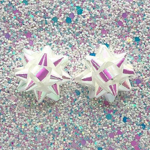 Actual Gift Bow Studs in Iridescent White