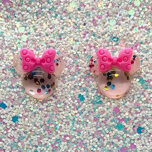 Light Pink Glitter Mouse Studs
