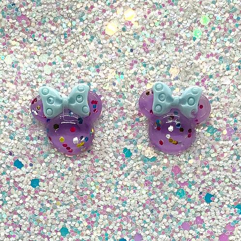 Purple Glitter Mouse Studs