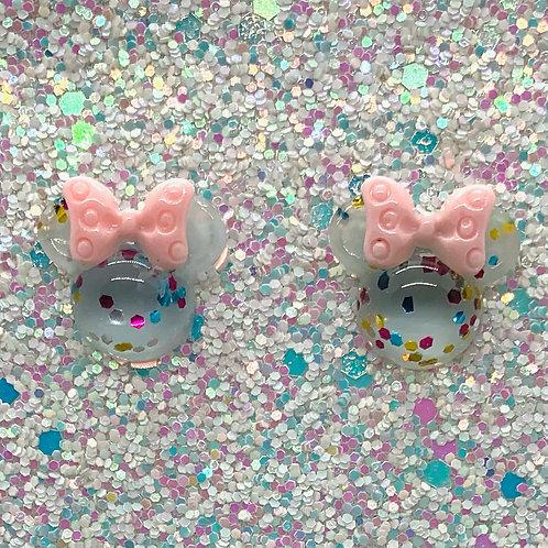 Blue Glitter Mouse Studs