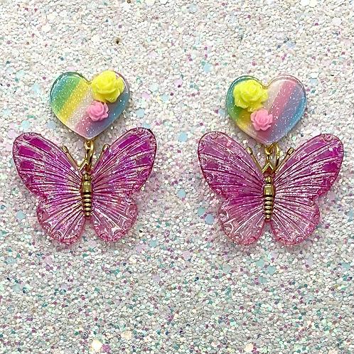 Butterfly Dangles in Pink